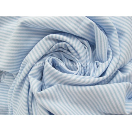 Отрез трикотажа стрейч-кулир «Голубая полоска 3 мм», 25*40 см