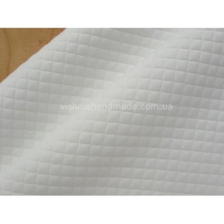 Белый стеганый (клеточка 10 мм) трикотаж для кукольной одежды, 25*36 см