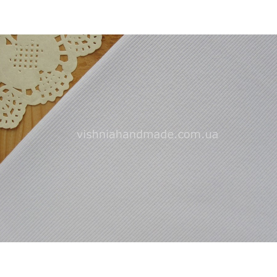 Трикотаж для манжетов белый (резинка), 10*25 см