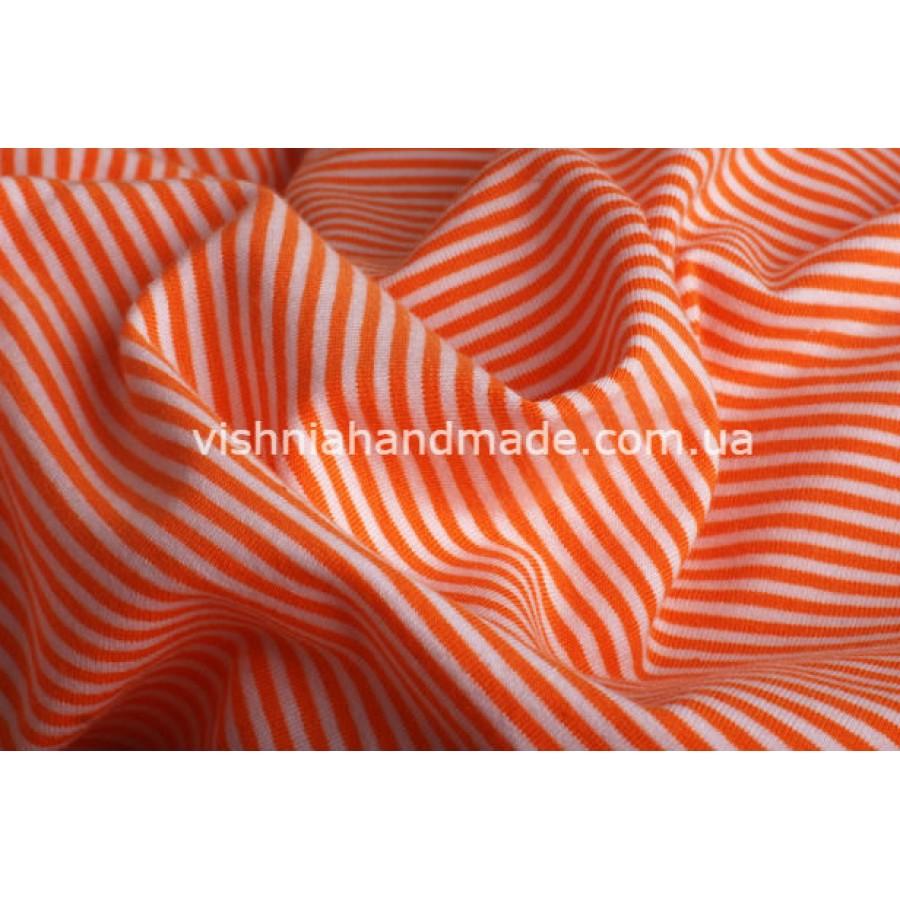 Трикотаж стрейч-кулир оранжевая полоска 3 мм, 25*40 см