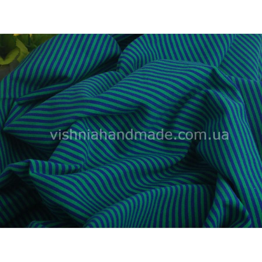 Отрез трикотажа стрейч-кулир «Зеленая-синяя полоска 3 мм», 25*40 см