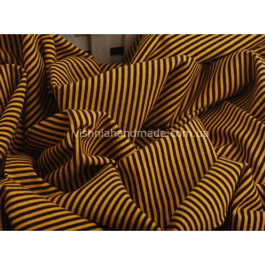 Отрез трикотажа стрейч-кулир «Желтая-черная полоска 3 мм», 25*40 см