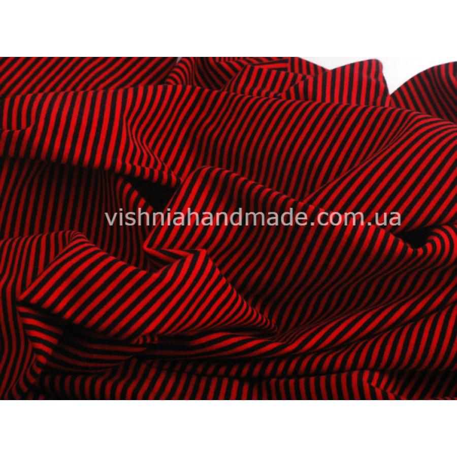 Отрез трикотажа стрейч-кулир «Красная-черная полоска 3 мм», 25*40 см