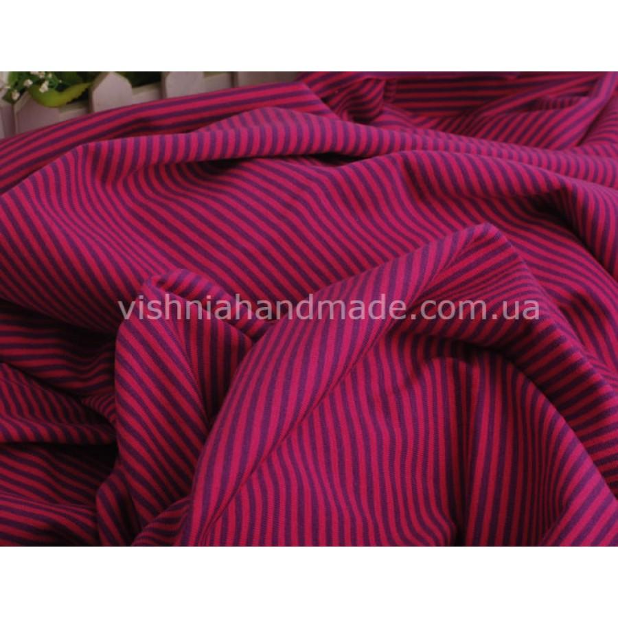 Отрез трикотажа стрейч-кулир «Розовая-фиолетовая полоска 3 мм», 25*40 см