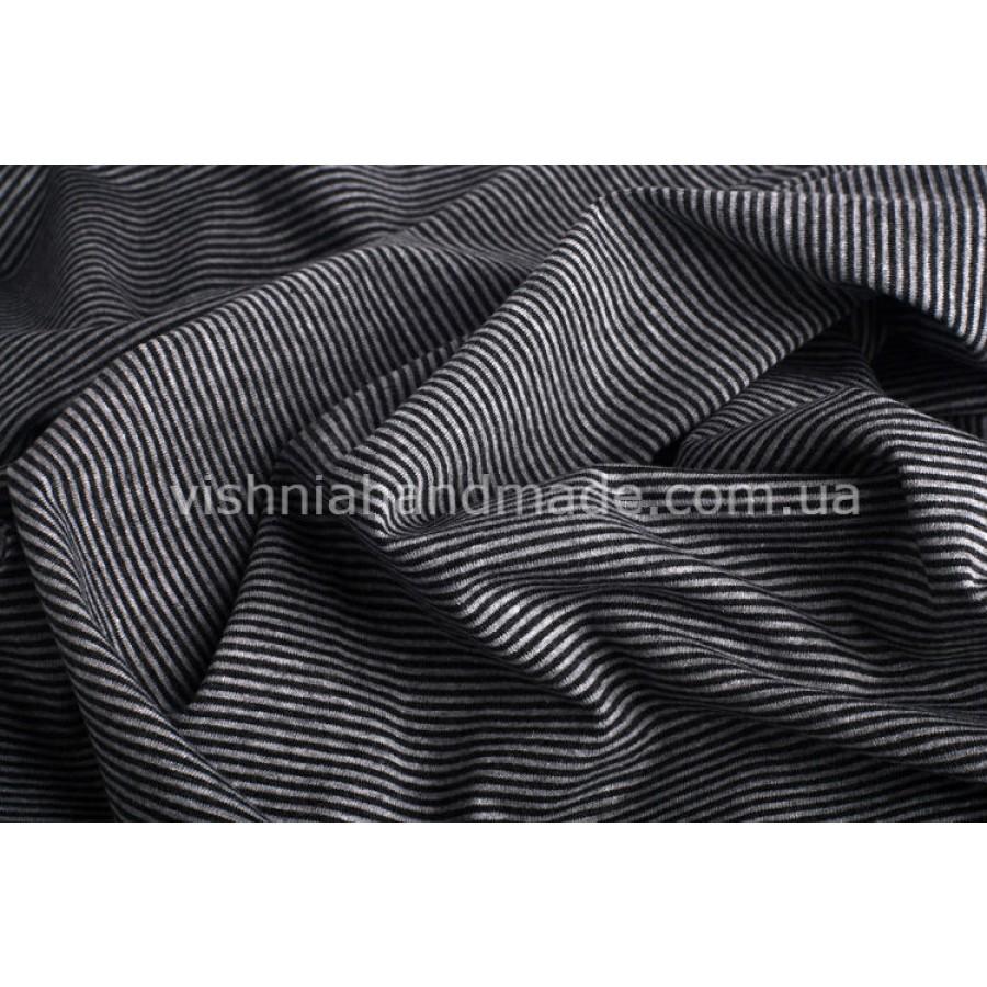 Отрез трикотажа стрейч-кулир «Серая-графитовая микро полоска 1 мм», 25*40 см