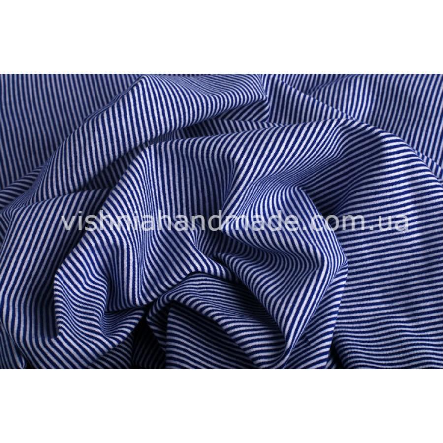 Отрез трикотажа стрейч-кулир «Синяя микро полоска 1 мм», 25*40 см